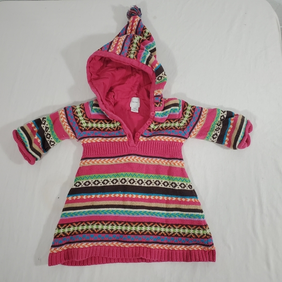 Baby Gap Striped Multi Color Hooded Sweater Dress